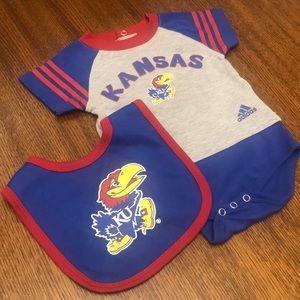"""NWOT""Adidas Kansas University Baby Onesie & Bib"